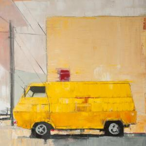 Yellow Van with Yellow Building by Ruth Shively
