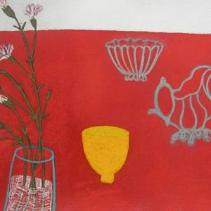 Red Table, Yellow Pot by Angela A'Court