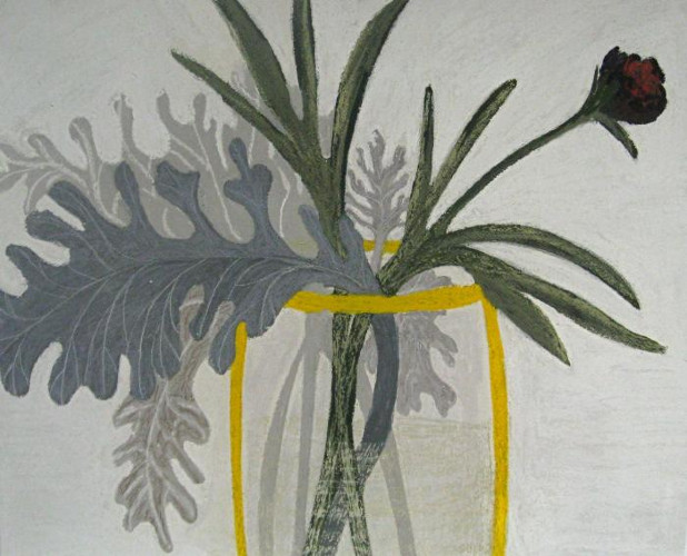 Peony with Grey Leaves by Angela A'Court