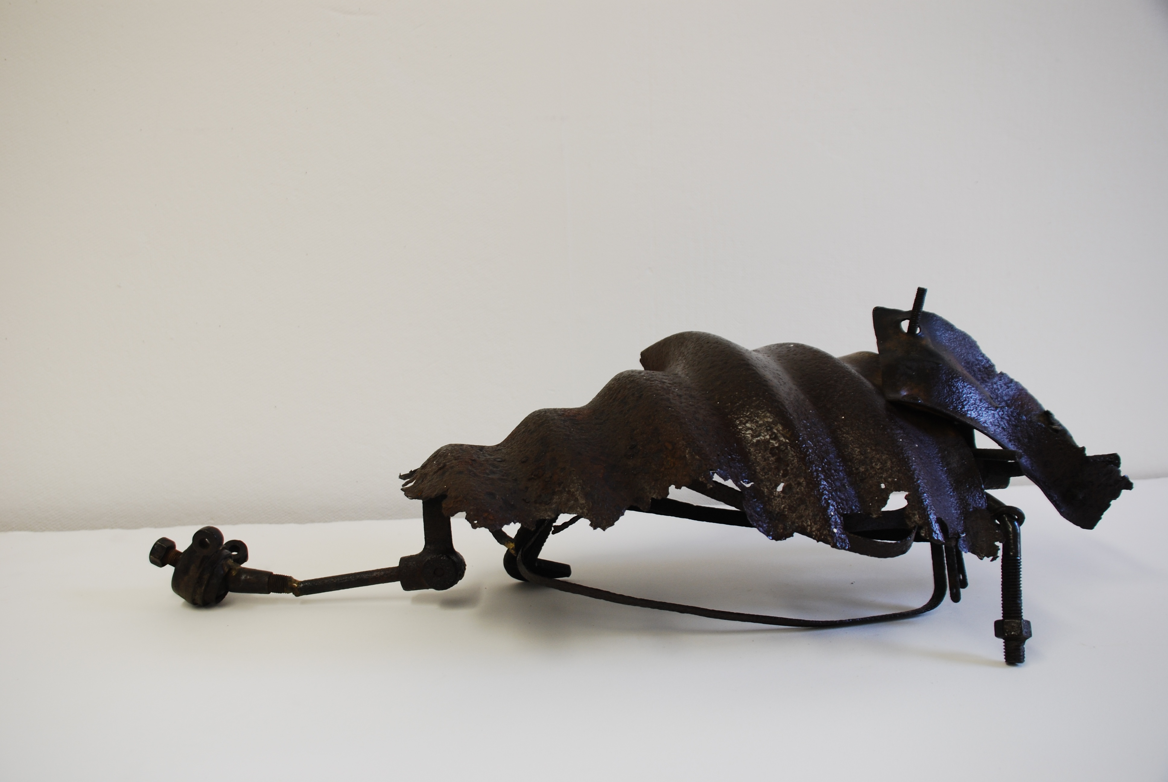 "Carole Eisner, ""Armadillo"", scrap metal sculpture, 9 x 28 x 10 inches"