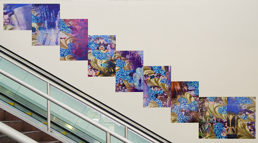 """Barbara Strasen, """"Flow and Glimpse"""", large-format lenticular panels, 60 x 41 - 43 inches, 2013"""