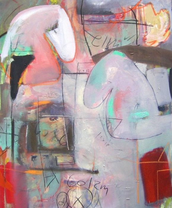 """Lydia Janssen, """"Checkmate"""", mixed media on canvas, 62 x 50 inches, 2006"""
