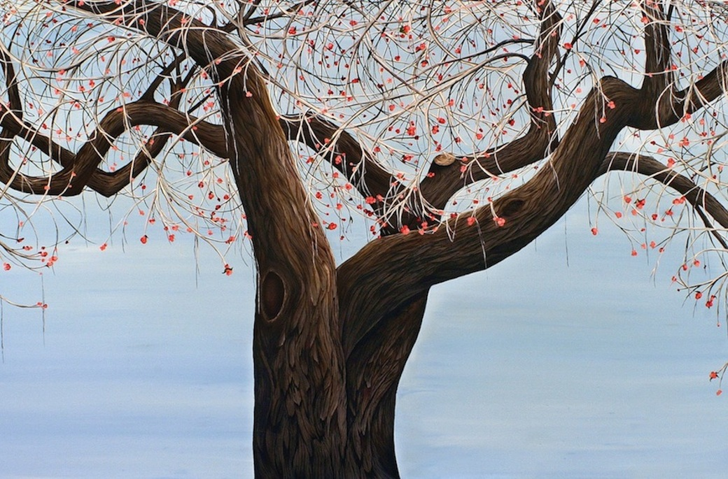 """Allison Green, """"Aline"""" from the series """"Arboreal Portraits"""", oil on canvas, 48 x 72 inches, 2011"""