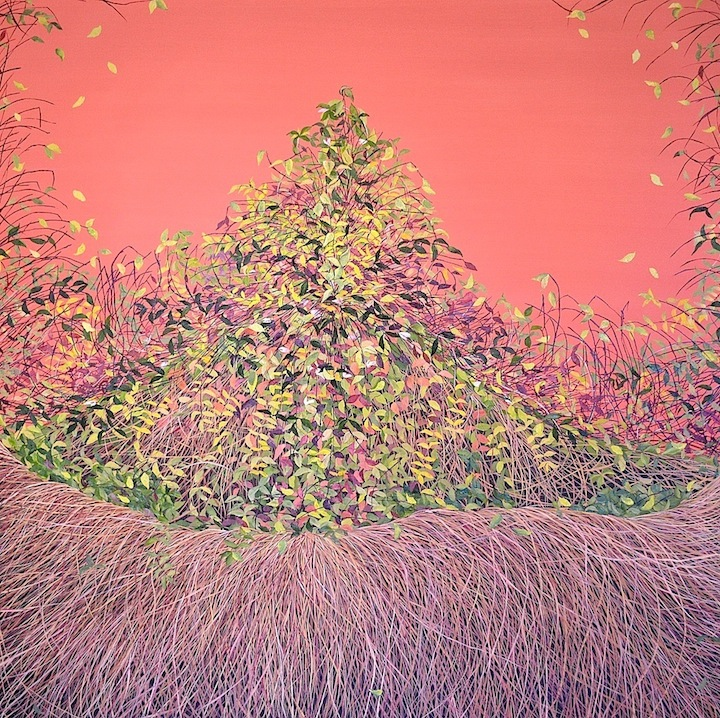 """Allison Green, """"Sienna Thicket"""", oil on canvas, 12 x 48 inches, 2012"""