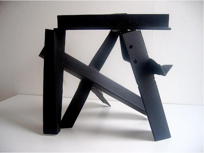 "Carole Eisner, ""Zig Zag"", scrap metal, 18 x 21 x 18 inches"