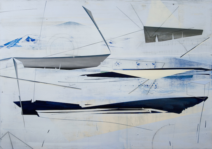 """David Collins, """"Skiff"""", oil and acrylic on linen, 38 x 52 inches, 2009"""