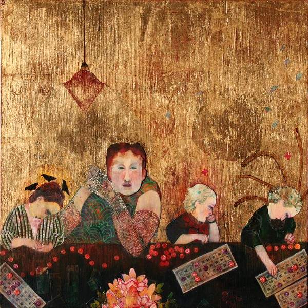 "Deirdre O'Connell, ""The Lotto Game,"" acrylic, gold leaf, colored pencil, and paper on wood, 24 x 24 inches, 2014"