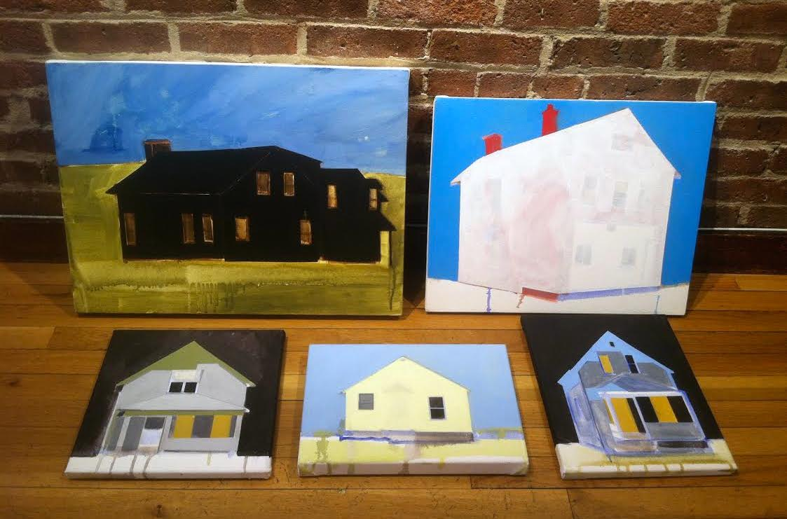 """Amy Greenan's (from left) """"Smoke Signal"""", """"Red House, Blue Sky"""", """"Do the Math"""", """"Glorious Land"""", and """"Nightlight"""""""