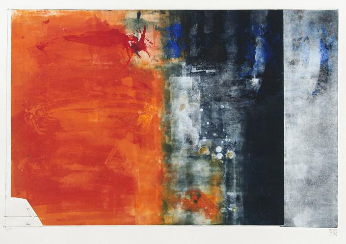 "Karin Bruckner, ""DawnToDusk"", monoprint, 30 x 22.5 inches, 2013"
