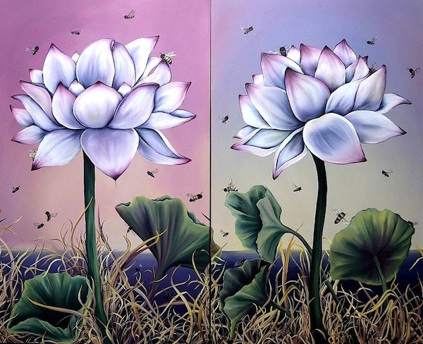 """Allison Green, """"Pollinate Me"""", oil on canvas, 60 x 72 inches"""