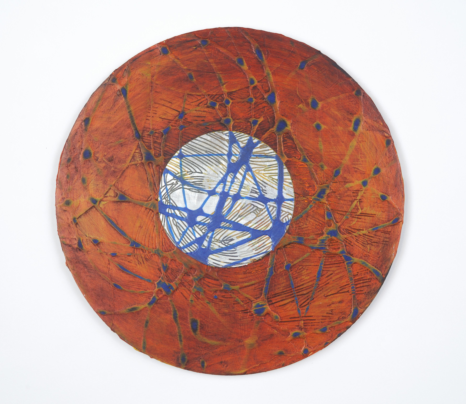 "Francie Hester, ""Portal 4"", acrylic and wax on aluminum panel, 9 inches round"