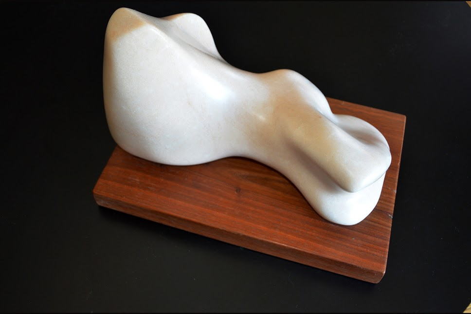 LILIAN R. ENGEL, RECLINE , MARBLE, 12 X 10 X 9 INCHES