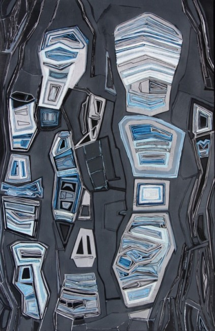 CHASE LANGFORD, ESSEX 23 (2014), OIL AND METALLIC ON CANVAS, 54 X 35 INCHES