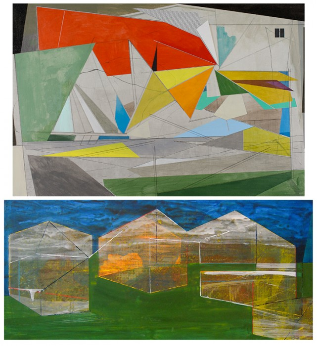 (top)David Collins, The House That Jack Built, 2012 acrylic on linen, 24 x 36 inches (bottom) James Isherwood, Compound, 2010, acrylic on panel, 13 x 28.5 inches