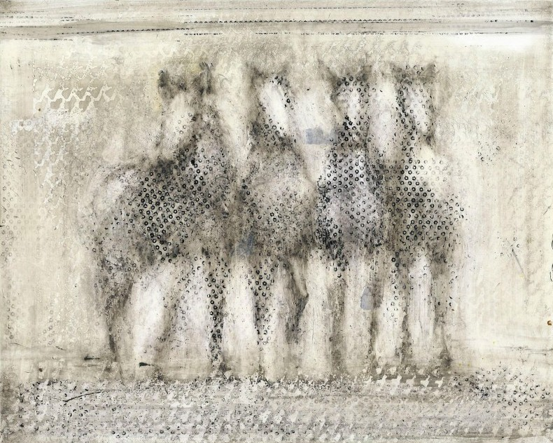 Alicia Rothman, Four Horses, 2014, mixed media on panel, 8 x 10 inches
