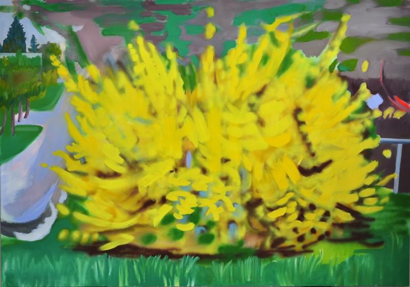 """Erin Haldrup, """"Forsythia"""",  acrylic, spray paint and oil, 59 x 83 inches"""