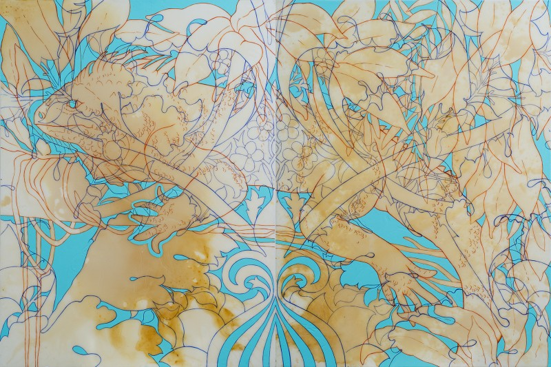 "Barbara Strasen, ""Iguana William Morris (diptych)"", 2011, acrylic on canvas, 48x72 inches"
