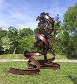 "Carole Eisner, ""Dancer"", 2009, rolled and welded steel i-beams, 211""h x 250""w x 168""d"