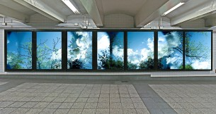 Leah Oates MTA Lightbox Installation at Bryant Park