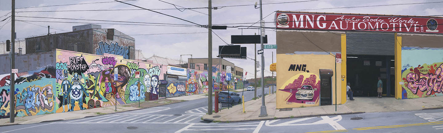 VALERI LARKO, MNG AUTOMOTIVE, BRONX (2013), OIL ON LINEN, 21 X 70 INCHES
