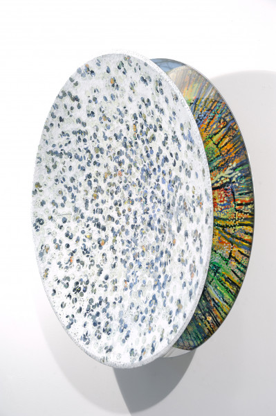 RANCIE HESTER, VESSEL #29 (2017), ACRYLIC AND WAX ON STEEL, 36 INCHES ROUND